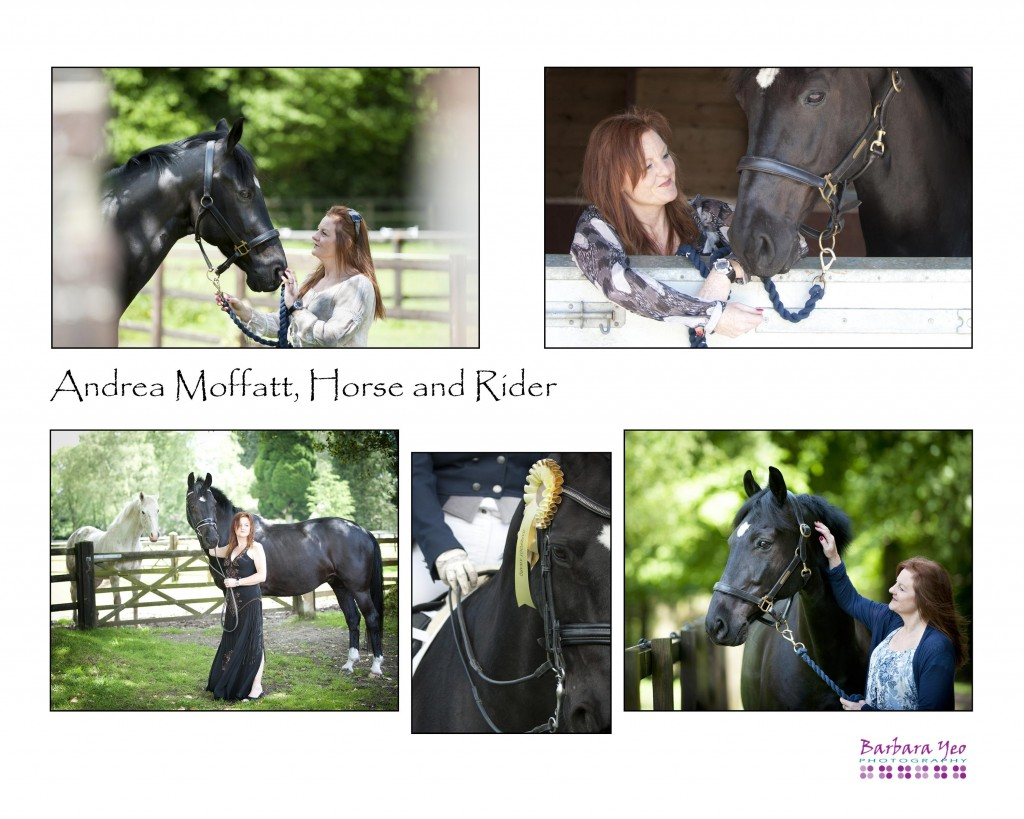 Picures of Andrea Moffatt with her horse Blackie